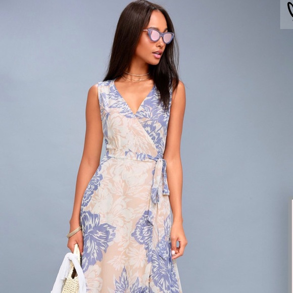 0b1b12b6cd Lulus Peach   Blue Desert Print Wrap Dress
